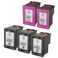 Remanufactured Replacement Bulk Set of 5 Ink Cartridges for HP 65XL - 3 Black (N9K04AN) and 2 Color (N9K03AN)
