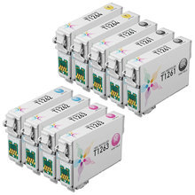 Remanufactured Epson Bulk Set of 9 High Capacity Ink Cartridges - 3 Black T126120 and 2 each of: Cyan T126220, Magenta T126320 and Yellow T126420