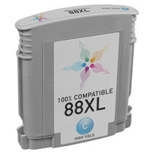 Remanufactured Replacement Ink Cartridge for Hewlett Packard C9391AN (HP 88XL) High-Yield Cyan