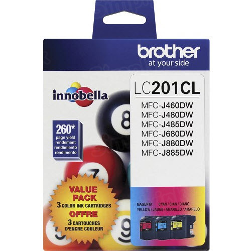 Brother OEM LC2013PKS C/M/Y Ink Cartridges, 3 Pack