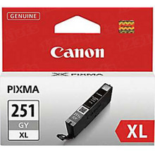 Canon CLI-251XLGY Gray OEM High-Yield Ink Cartridge, 6452B001