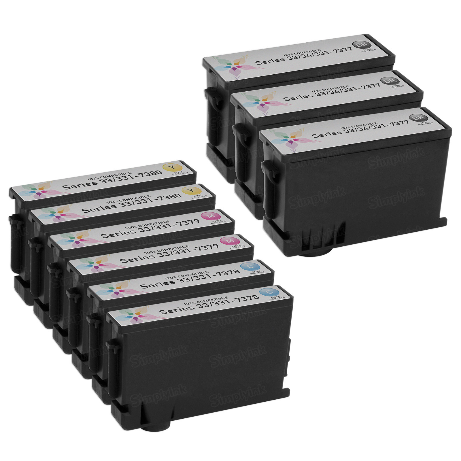 9-Pack of Compatible Replacement for Dell Series 33/34 Ink